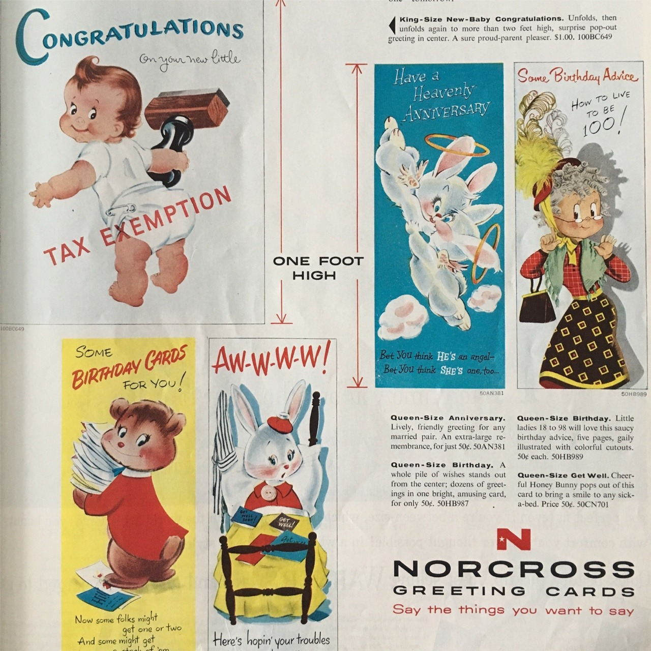 Ad detail for Norcross Greeting Cards. Ladies' Home Journal. May 1957.   The Norcross Greeting Card Company was founded in New York City in the mid 1920s by Arthur Norcross. The family-owned and operated company had a very distinct look in their greeting card designs, and it's been said that they were the first to produce Valentine's Day cards. The company was known to be very family-oriented, and treated their employees as such. When Arthur Norcross passed away in 1968, the company went through four more owners before declaring bankruptcy in 1981 and ceased operations.   At some point in their history, Norcross built an archive of antique greeting cards and other products such as ribbons, decorations, and labels which they added to their collection. This collection is now preserved by the Smithsonian's American History Museum in Washington, DC.