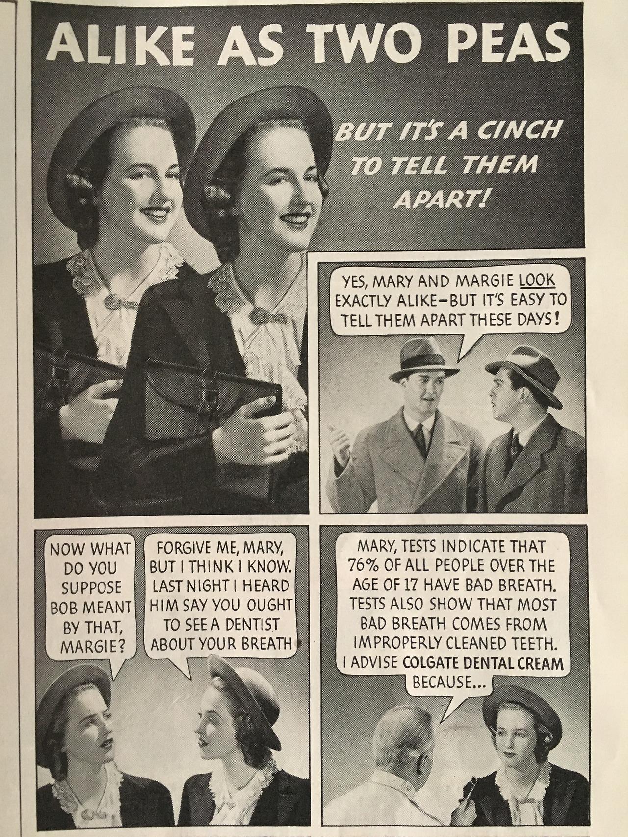 """Alike as two peas."" Colgate ad detail.  Woman's Home Companion. May 1938."