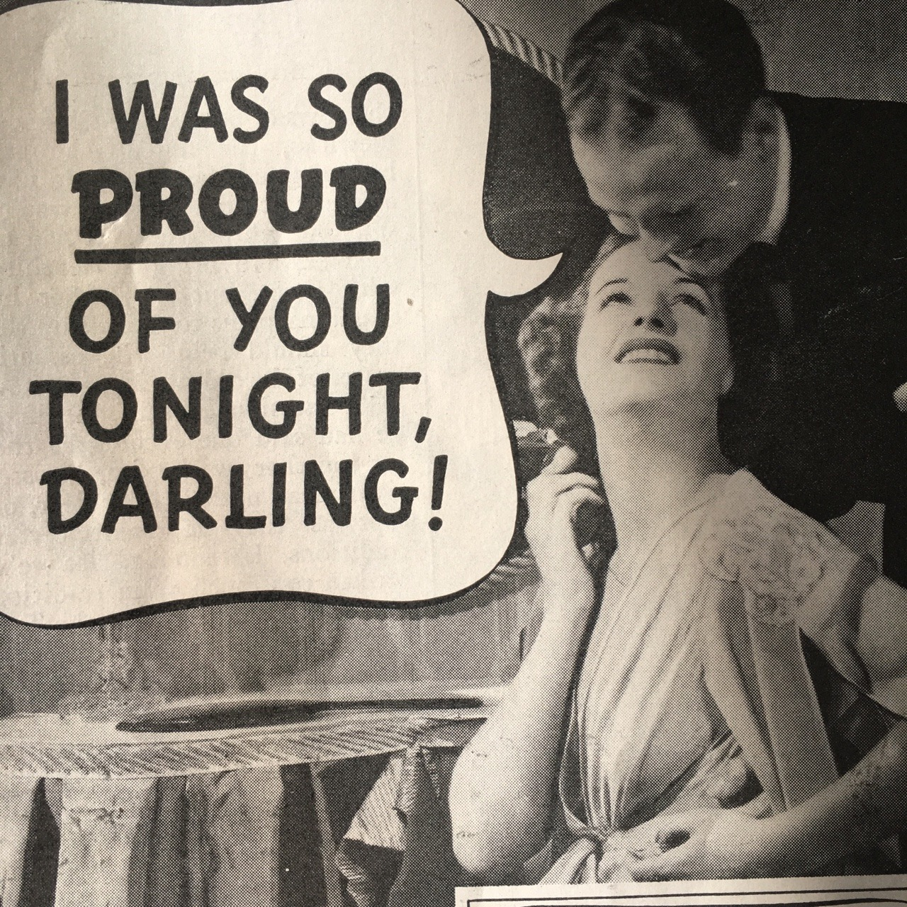 """""""I was so proud of you tonight, Darling!""""    Palmolive ad detail. Woman's Home Companion. May 1938."""