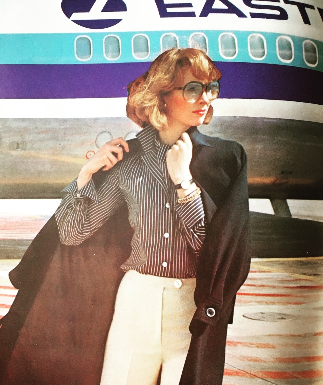 Eastern Airlines travel fashion advertorial. Vogue. May 1976.   You need to fly in style. Eastern Airlines was once one of the largest airlines, but in the late '70s it was going through quite a bit of financial turmoil which spiraled them into bankruptcy before ceasing operations in 1991. In 2015, a new group of airline industry managers relaunched Eastern Airlines, hoping to preserve the legacy. Currently, the revived airline flies between Miami and Cuba and other Caribbean destinations.