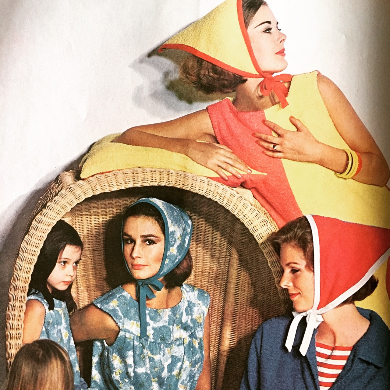 Fashion spread featuring terrycloth fashions. Ladies' Home Journal. May 1963.
