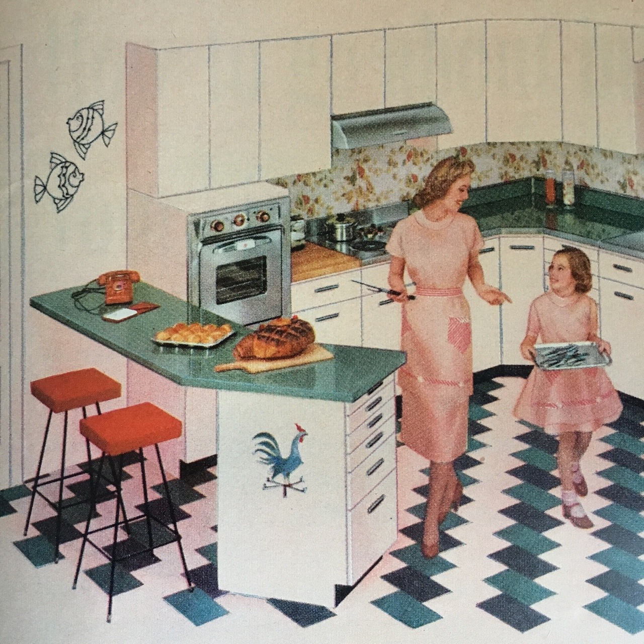 """Republic Steel Kitchens. Better Homes and Gardens. May 1956.   These cabinets came in""""Harmony Hues"""" including Prelude Pink, Largo Yellow, and Tempo Turquoise. Steel kitchens were particularly popular in the'50s, as steel production was still plentiful and cheap during the Postwar era."""