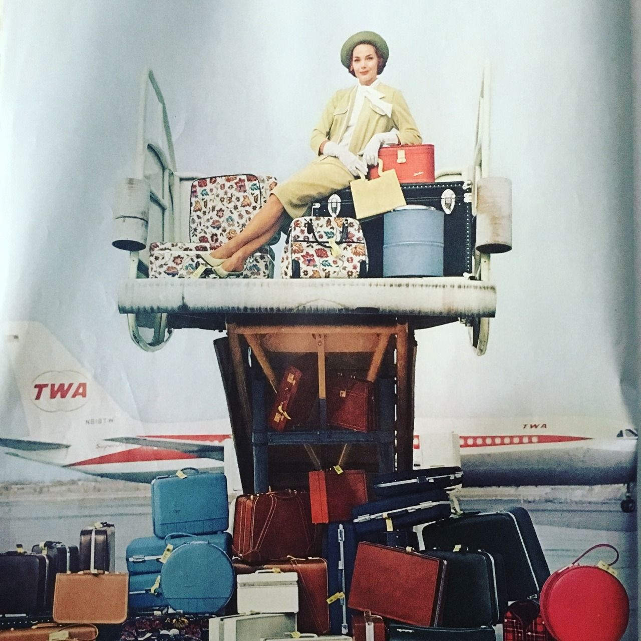 """""""How to travel with 42 different kinds of Sears luggage."""" Sears ad. Ladies' Home Journal. April 1963."""
