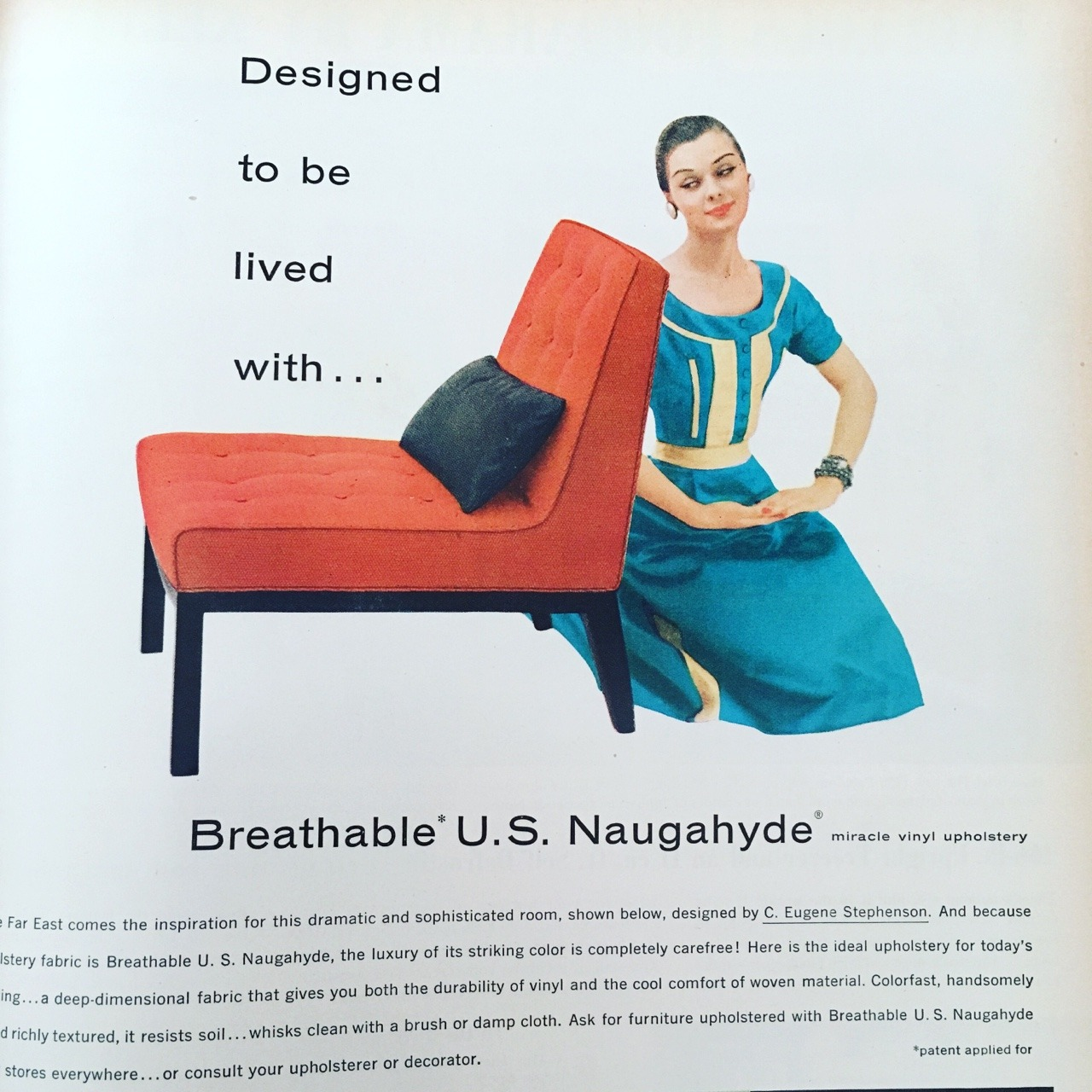 """""""Designed to be lived with…"""" American Rubber Association ad for U.S. Naugahyde. Better Homes and Gardens. April 1956."""