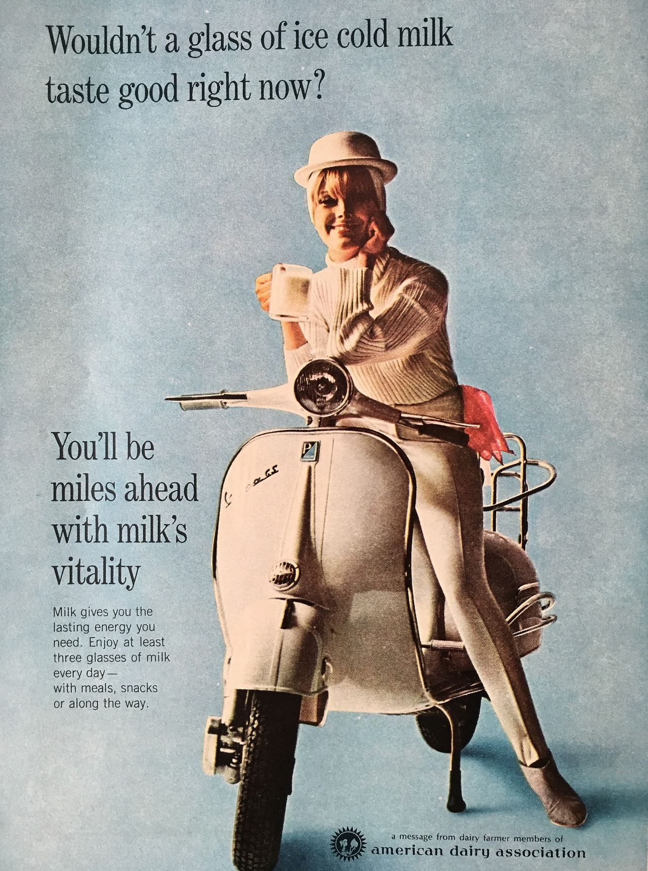 """Wouldn't a glass of ice cold milk taste good right now?"" American Dairy Association ad. Appeared in Co-ed Magazine. April 1966."