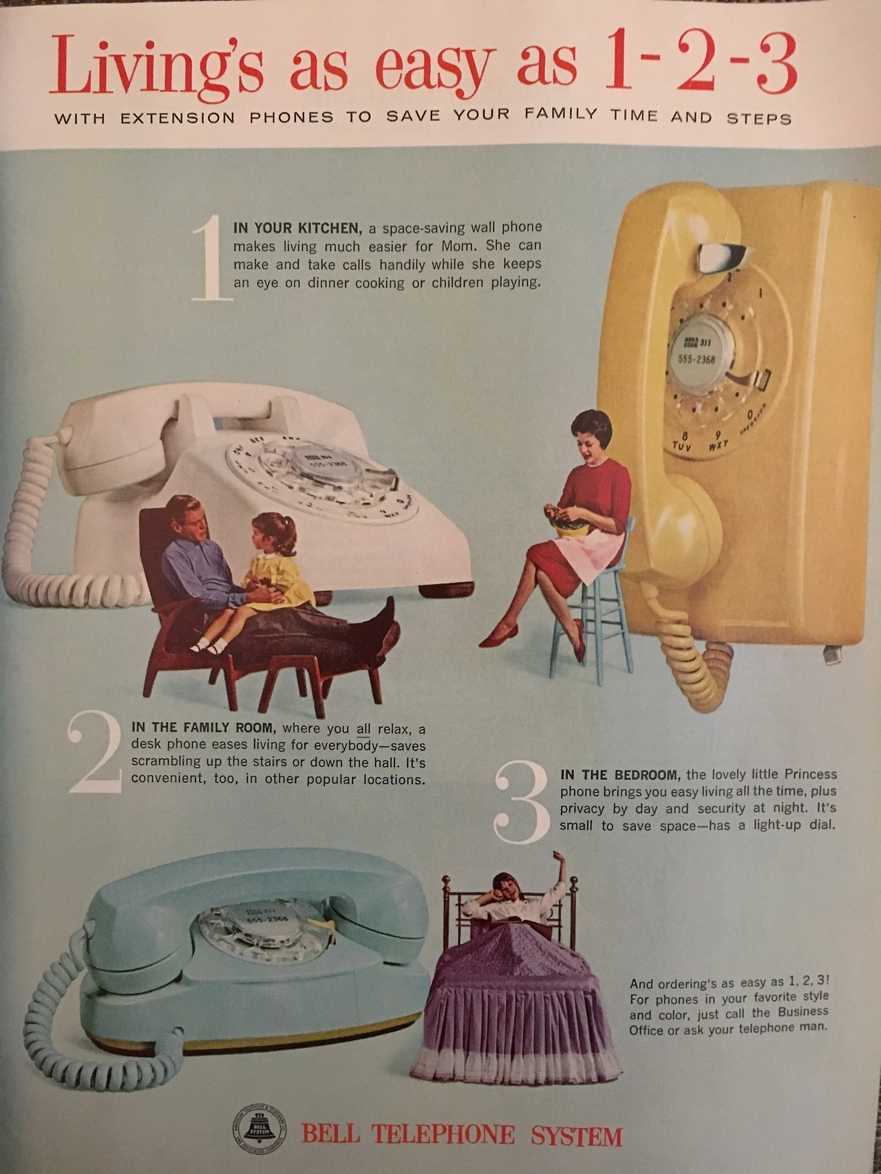 """""""Living's as easy as 1-2-3"""". Because every home needs more phones. Bell Telephone. Ladies Home Journal. April 1963."""