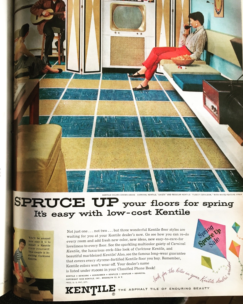 Kentile ad. Better Homes and Gardens. April 1956.