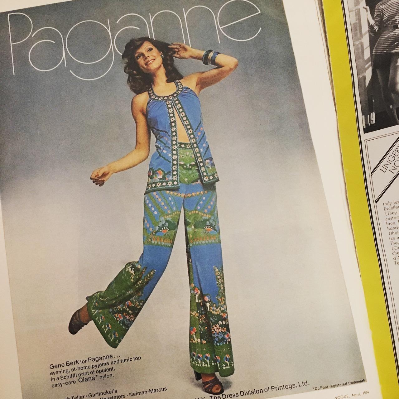 Paganne ad.  Vogue , April 1976.
