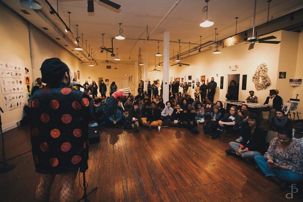 Malachi adressing O:O Our Black Arts Festival attendees