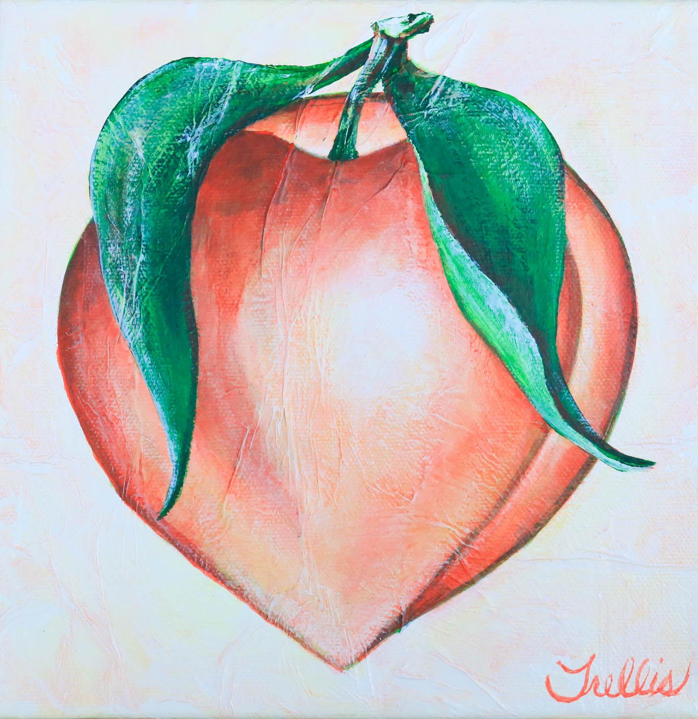 """""""Medium Peach""""    (8""""x8"""") Acrylic on canvas."""
