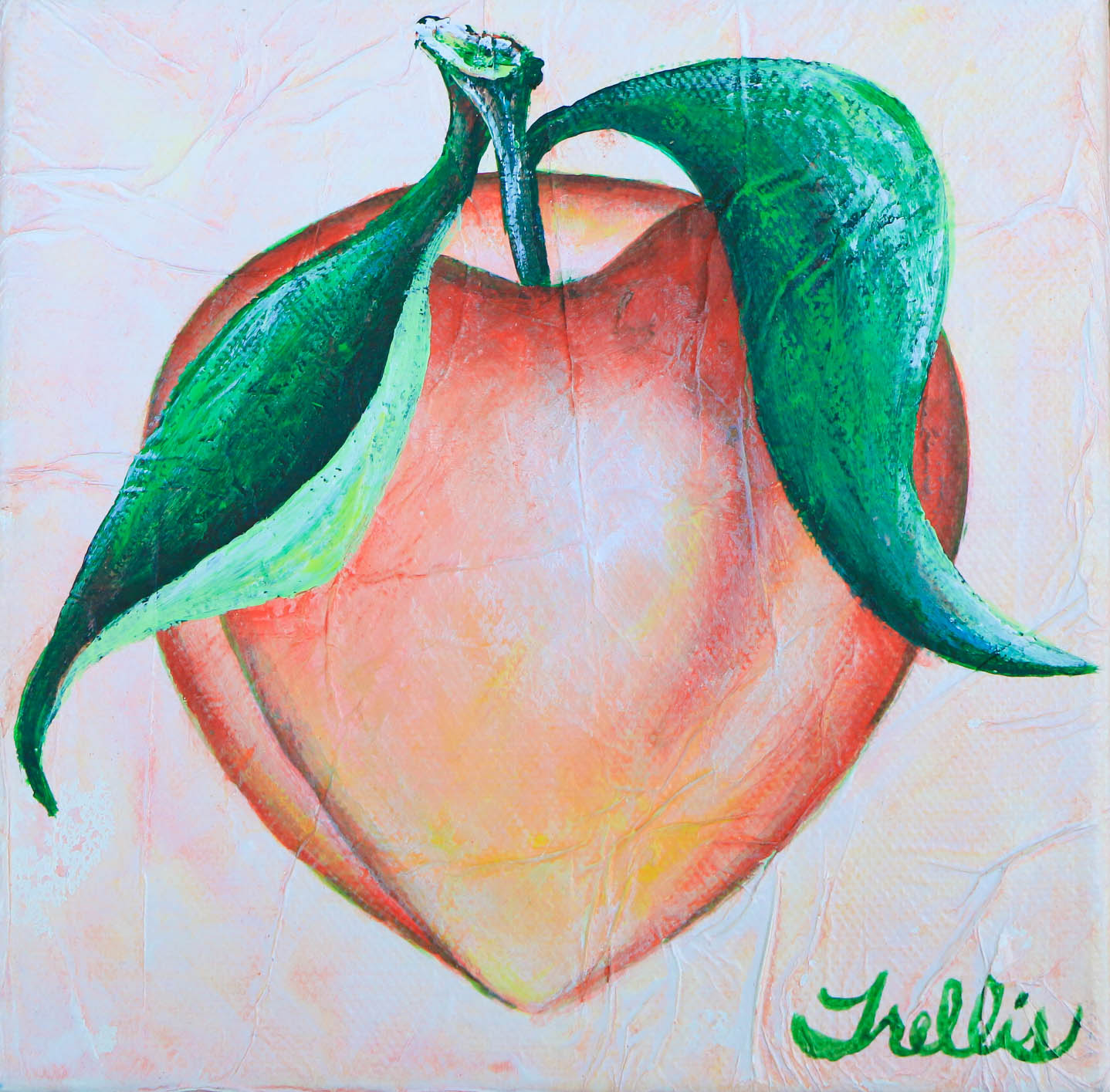 "Small Peach    (6""x6"") Acrylic on canvas."