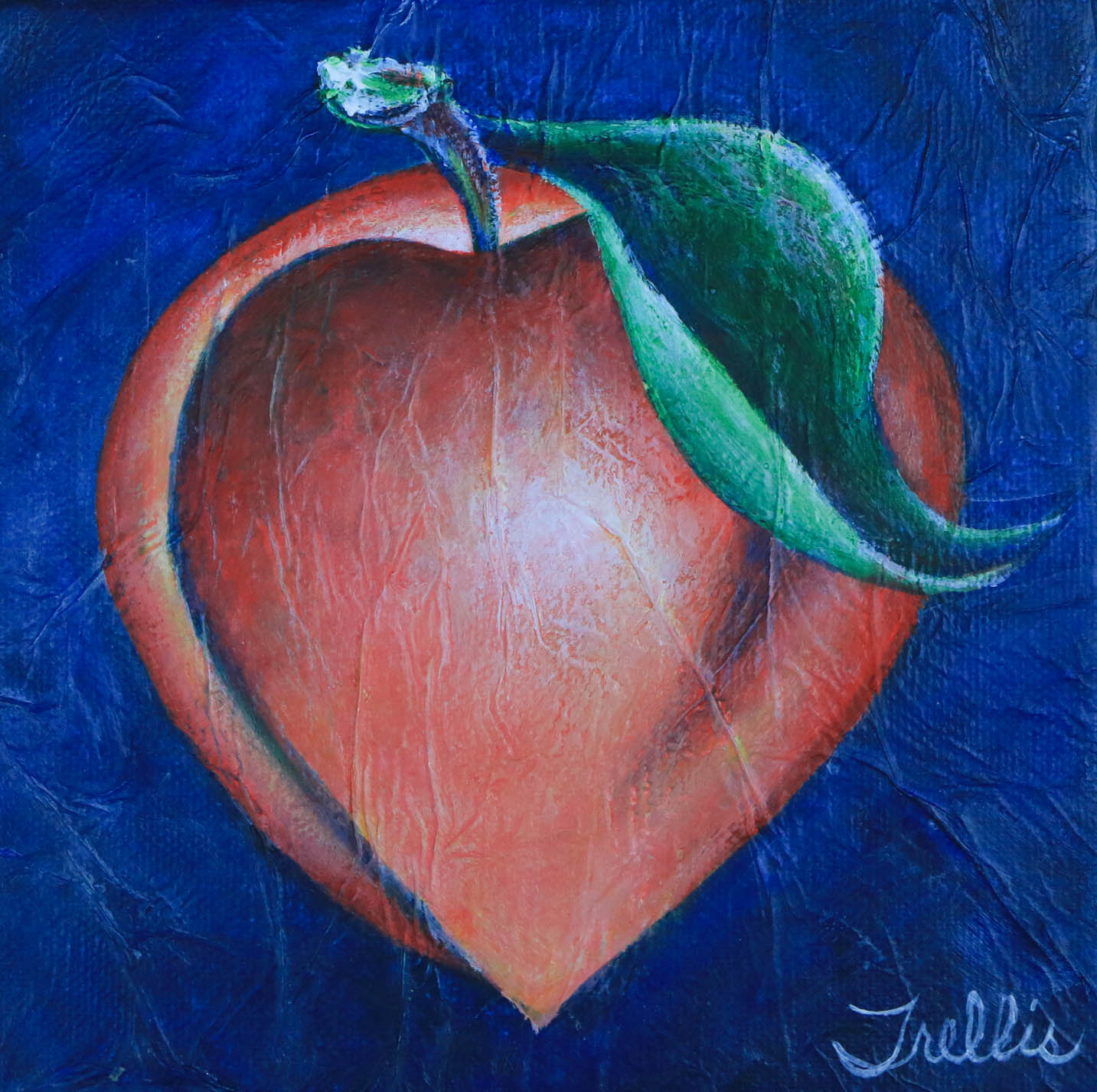 """Large Peach""    (10""x10"") Acrylic on canvas."