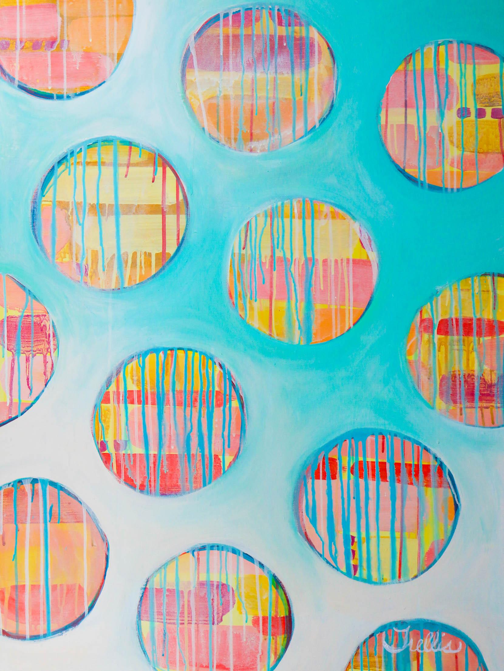 """Madras Bubbles""    (40""x30"") Acrylic on canvas."