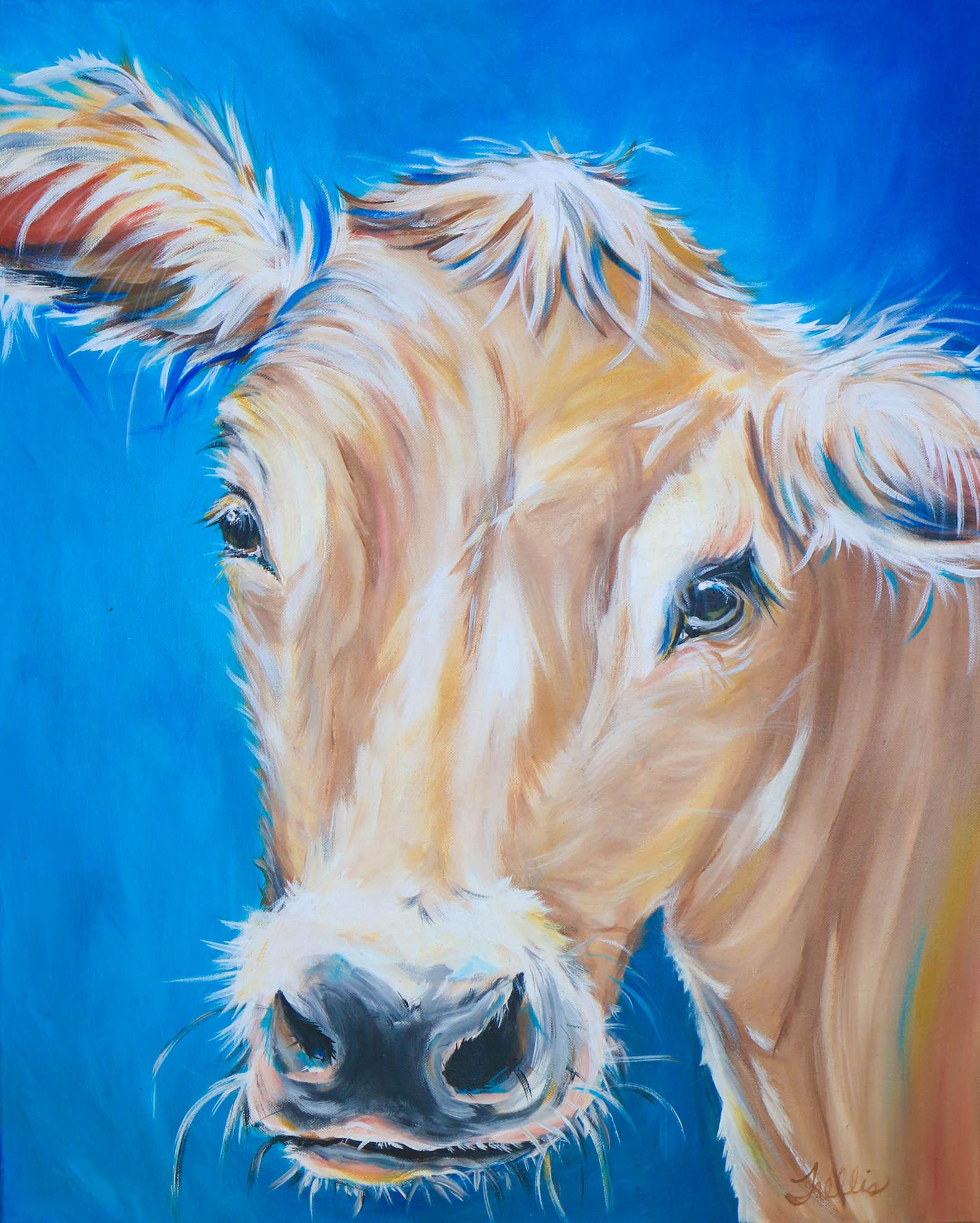 """""""Cow""""   (24""""x30"""") Acrylic on canvas."""