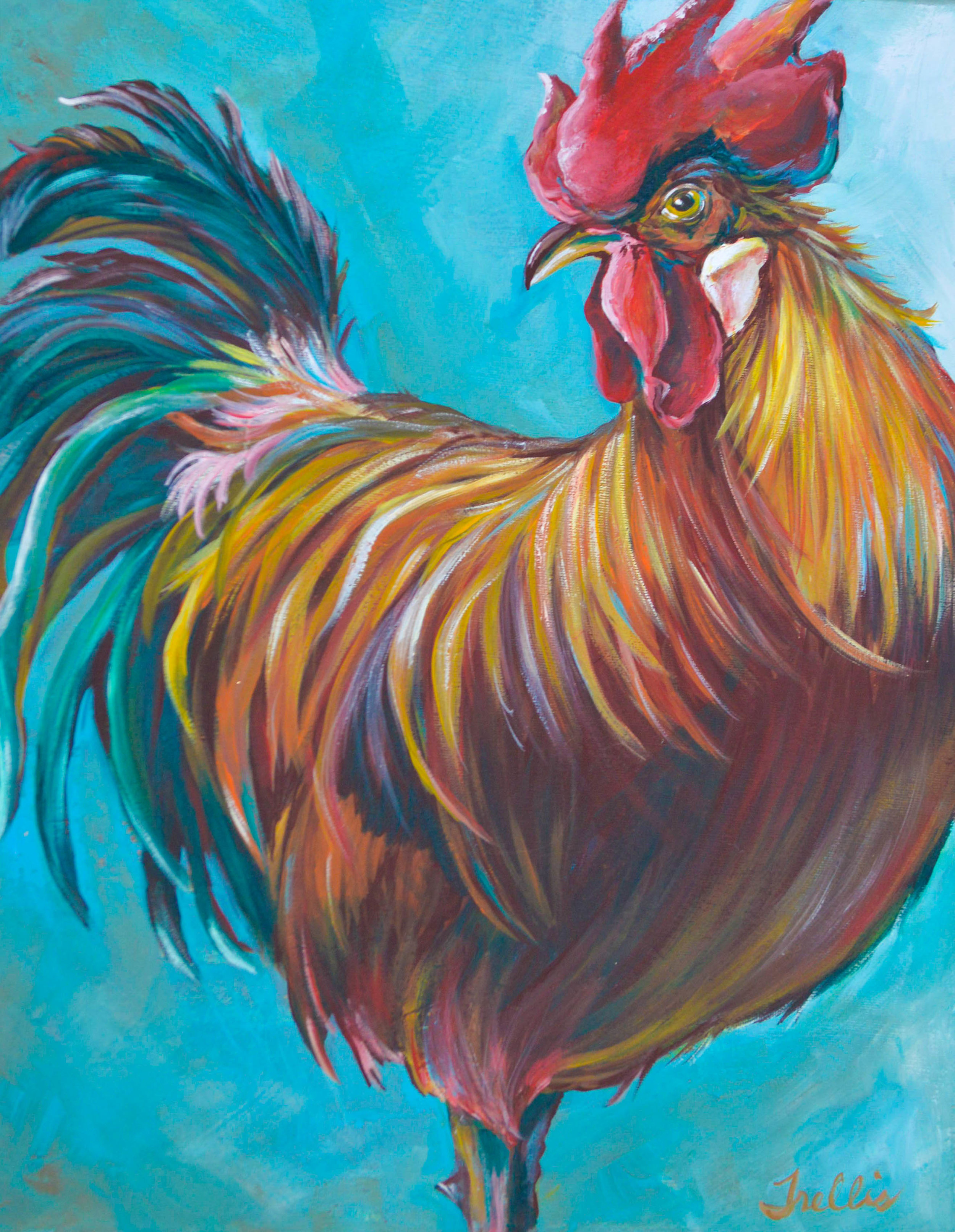 """Rooster 2""   (16""x20"") Acrylic on canvas."