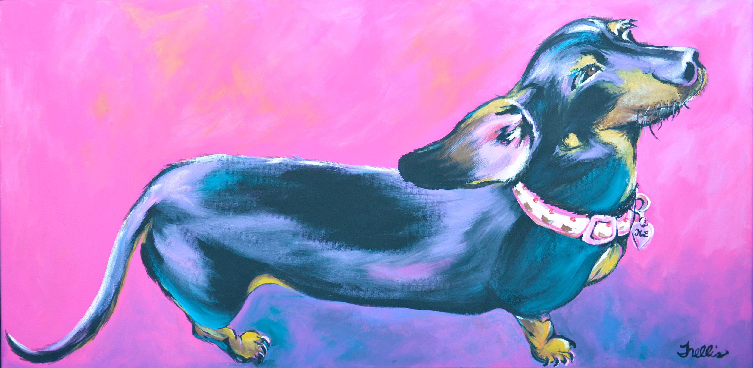 """""""Mona Lisa""""   (48""""x24"""") Acrylic on canvas."""