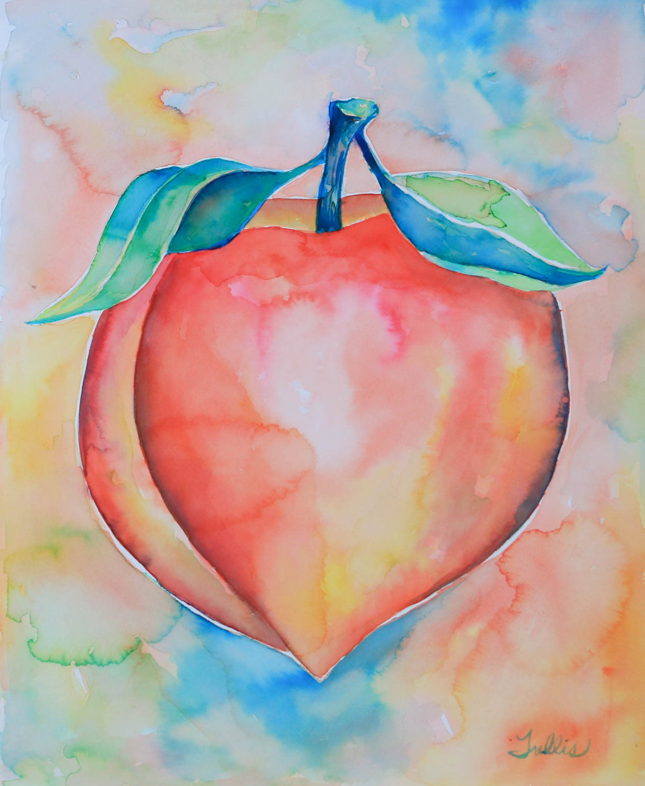 """Multicolored Peach""    (16""x20"") Watercolor."