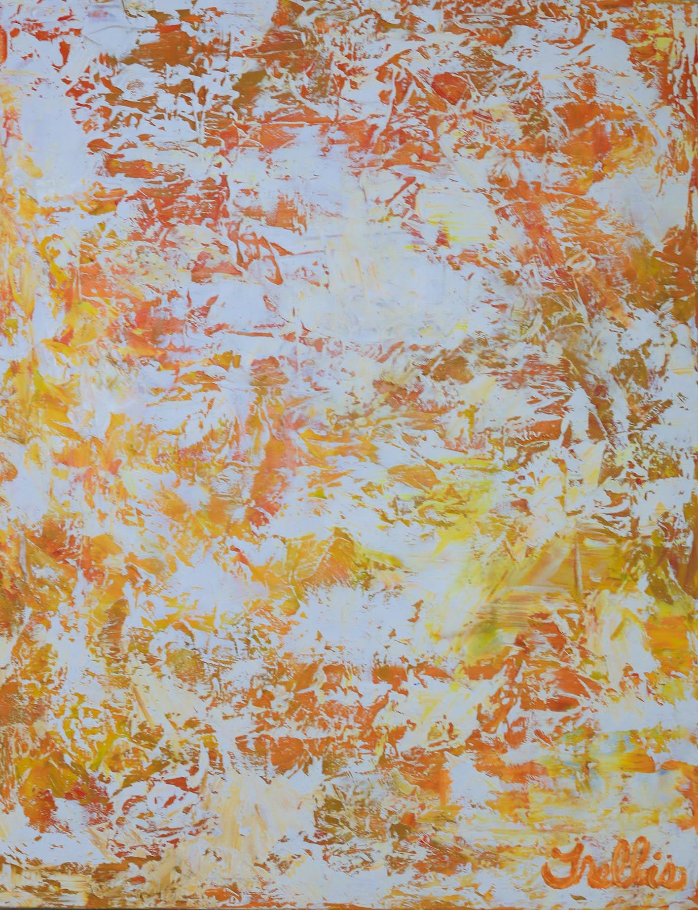 """Orange Non-Objective""    (28""x22"") Acrylic on canvas."