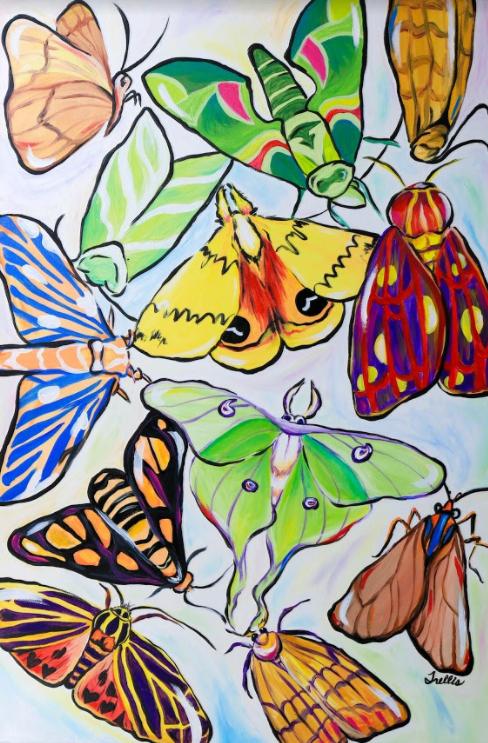"""""""Moths""""    (24""""x36"""") Acrylic on canvas."""