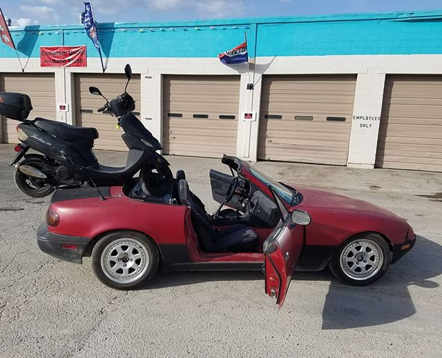 Spotted! Early nineties Mazda pickup truck! @trout_na_bout taking his #potato places.  #smallmotor #miata #mx5 #moped #gitrdone #garage #redneck #taotao #import #smtx #sanmarcos #txst