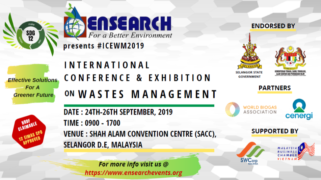 HURRY - Invitation to ENSEARCH: International Conference & Exhibition on Wastes Management - ICEWM2019!