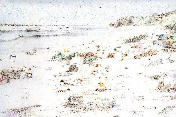Davide Cantoni,  Henderson Island, Pacific,  2018, Burned drawing, 91 cm x 122cm