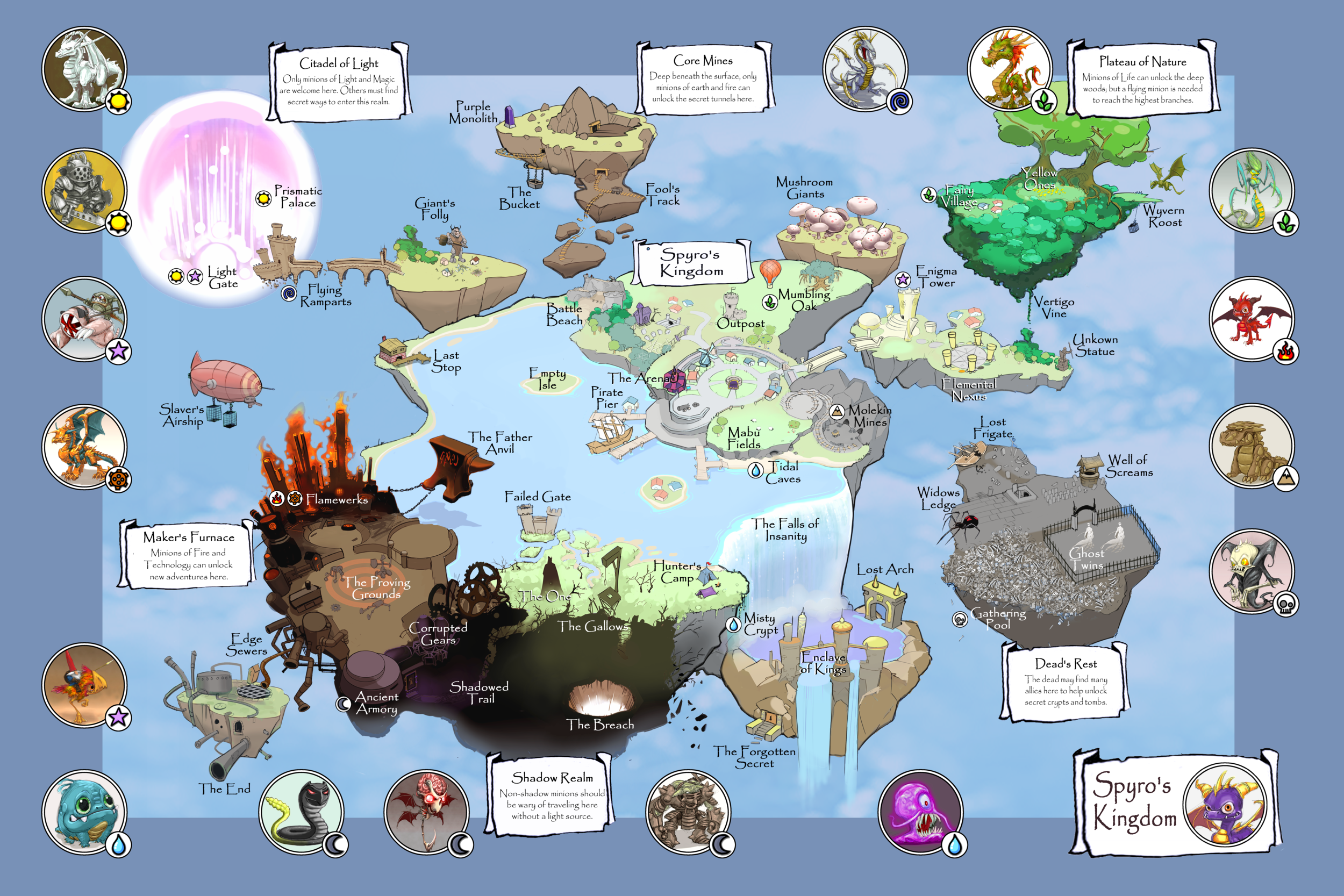 Earliest World Map used for the initial Skylanders Pitch.  We did not achieve this open world concept till Imaginators