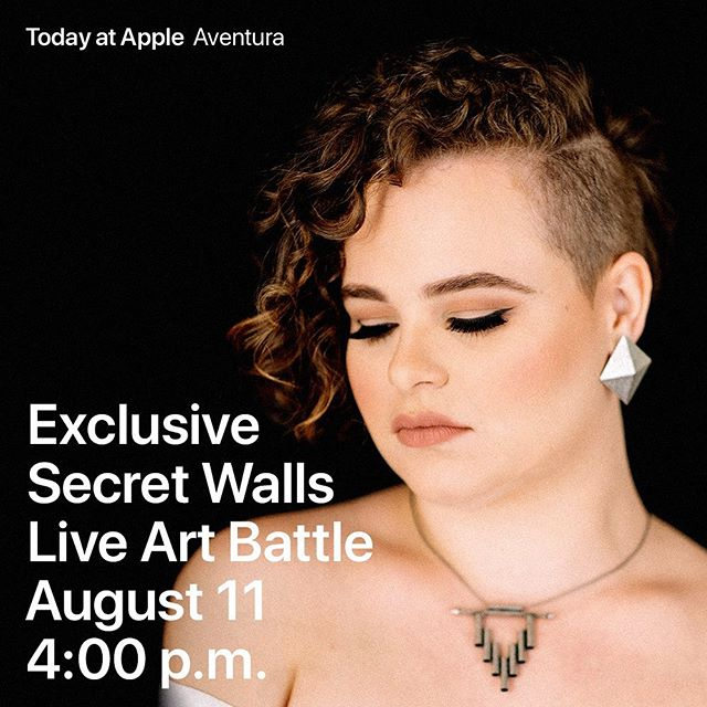 If ya don't know.... 👀😊🔜 SUNDAY #Aug11 Come show your Miami Artists love at Apple #Aventura's shiny NEW location! I'll be performing while @didirok @baghead @upperhandart are battling it out 🎨 🤩 #Miami #SecretWalls #TodayAtApple #LiveLikeYouLiveHere #SecretWallsMiami