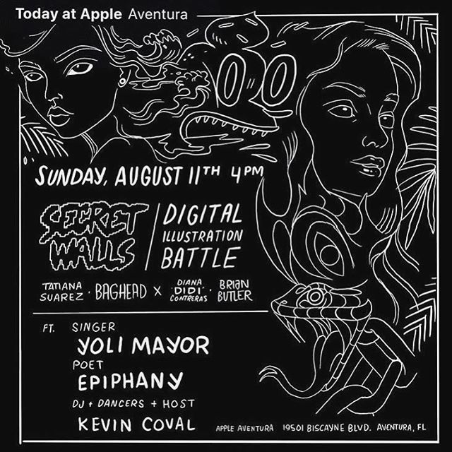 Who's showing up today??? 👀 4pm @aventuramall #Aug11 Come show your Miami Artists love at Apple #Aventura's shiny NEW location! I'll be performing while @didirok @baghead @upperhandart are battling it out 🎨 🤩 #Miami #SecretWalls #TodayAtApple #LiveLikeYouLiveHere #SecretWallsMiami