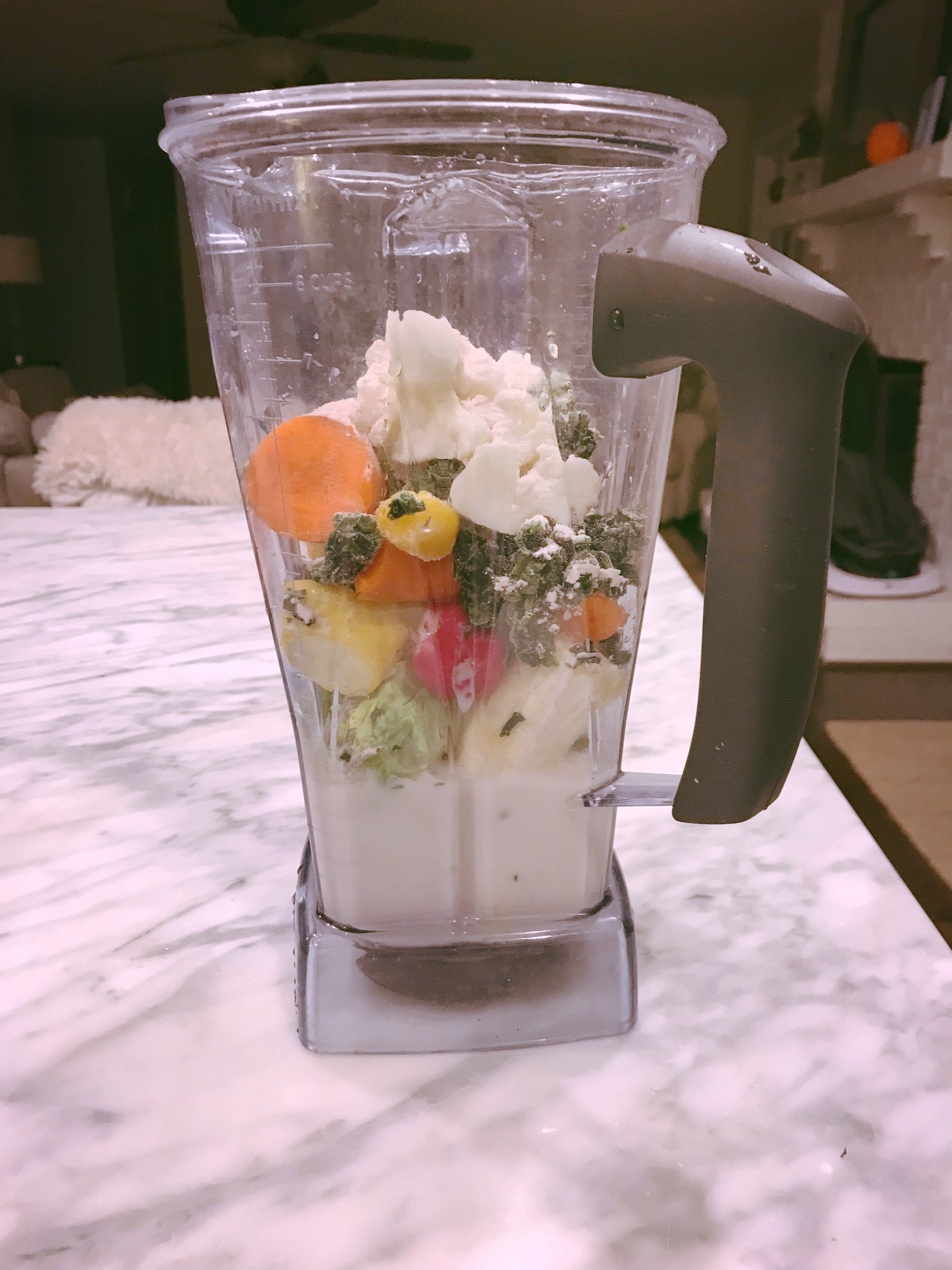 You won't find this on the menu at Planet Smoothie: Radish, Brussels Sprouts, Carrot, Kale, Spinach, Tomato, Squash & Cauliflower.