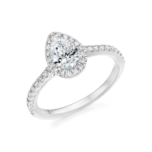PEAR CUT DIAMOND HALO WITH set SHOULDERS