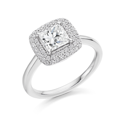 PRINCESS CUT IN A PAVE SETTING WITH DOUBLE HALO