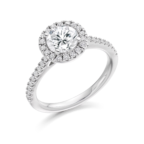 BRILLIANT diamond HALO WITH PAVE SHOULDERS