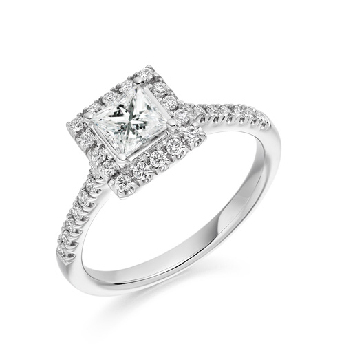 princess cut halo with scallop shoulders