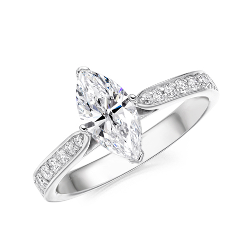 marquise diamond solitaire with set shoulders