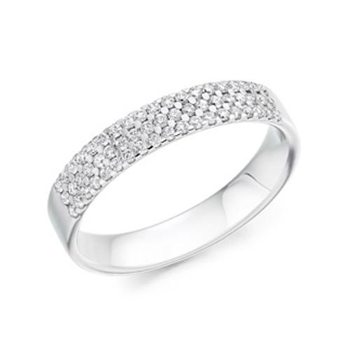pave set round brilliant eternity ring