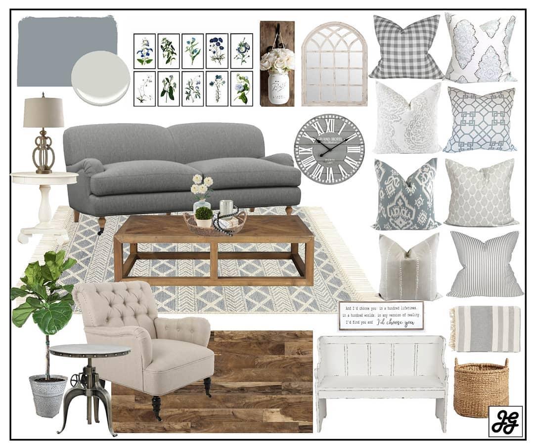 Modern farmhouse neutral living room