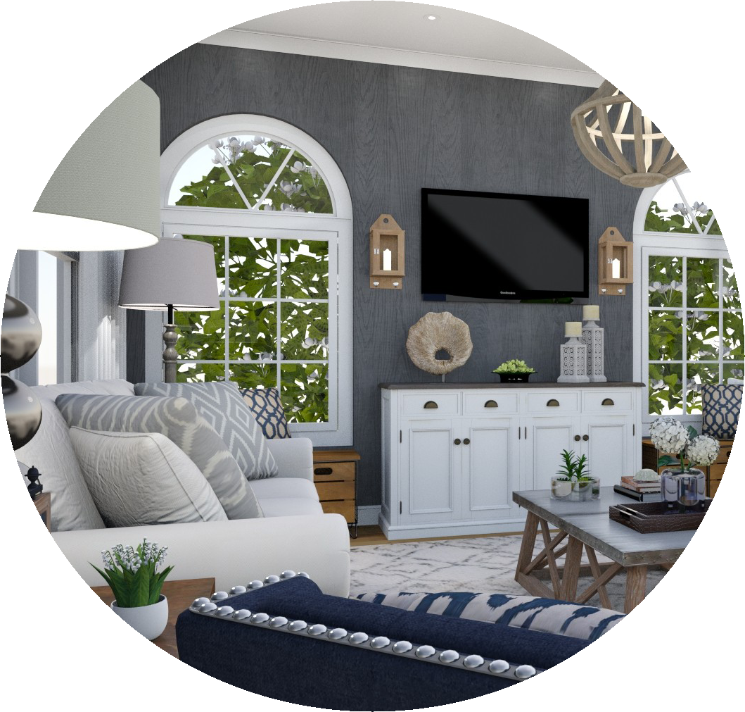 Full Service E-Design - This package has it all! You get an initial furniture & decor concept board, floor plan, shopping list, set up instructions, complementary ordering service and a 3D render so you can visualize everything together and see exactly how to put it together. And we do this all online, on your schedule!Click the image to learn more!