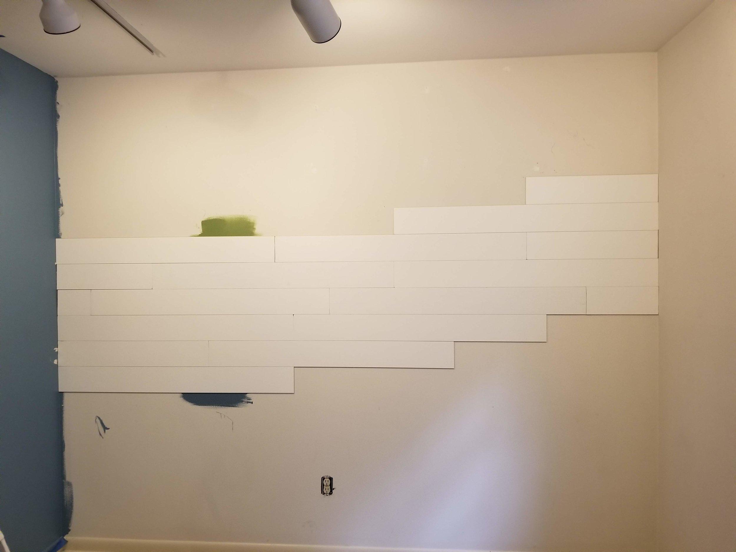 Wallplanks, white shiplap wood wall. Peel and stick wall
