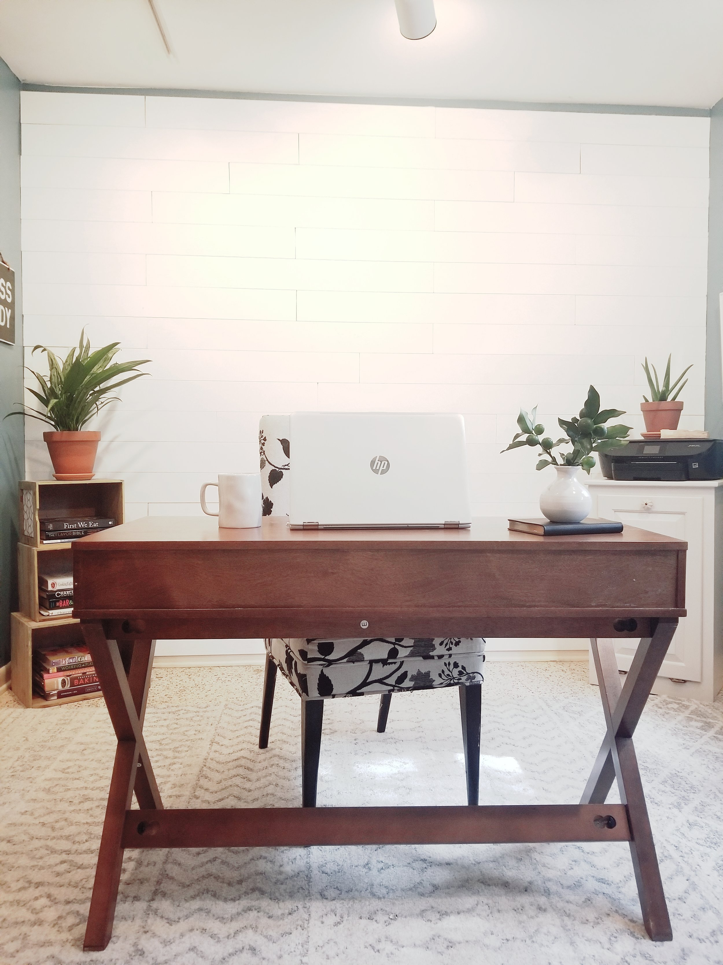 Home office wall planks accent wall- White farmhouse shiplap wall. sherwin williams paint