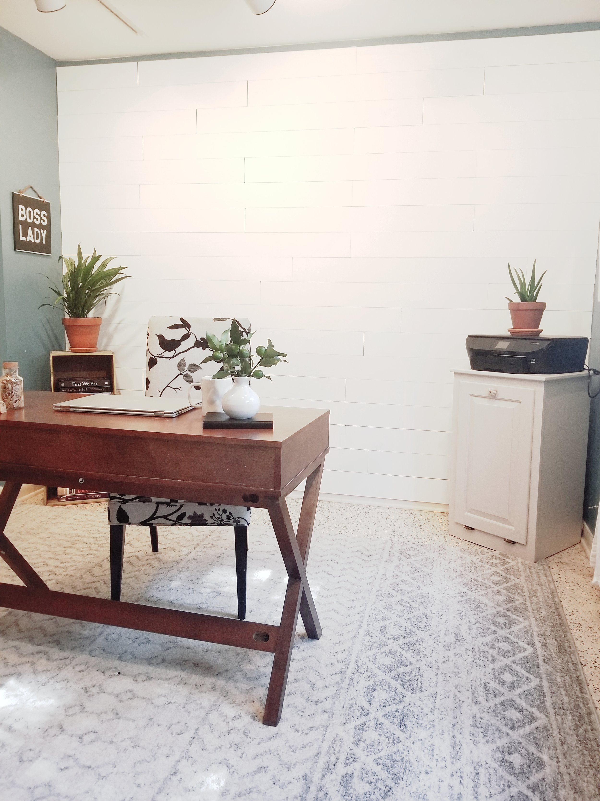 After wallplanks accent shiplap wall. Home office, boss lady office.