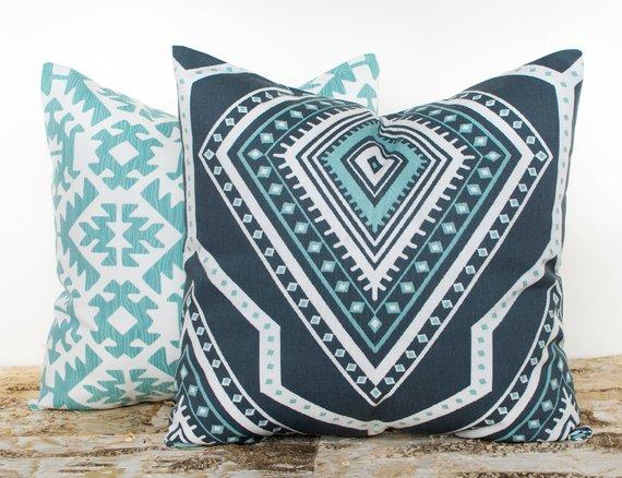 Etsy blue modern farmhouse pillow