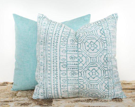 Teal farmhouse boho pillow
