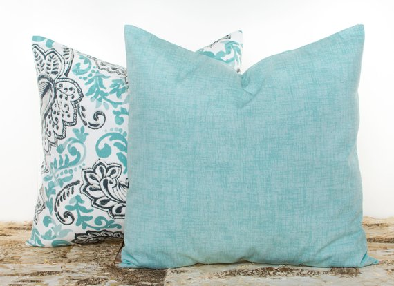 teal farmhouse solid pillow