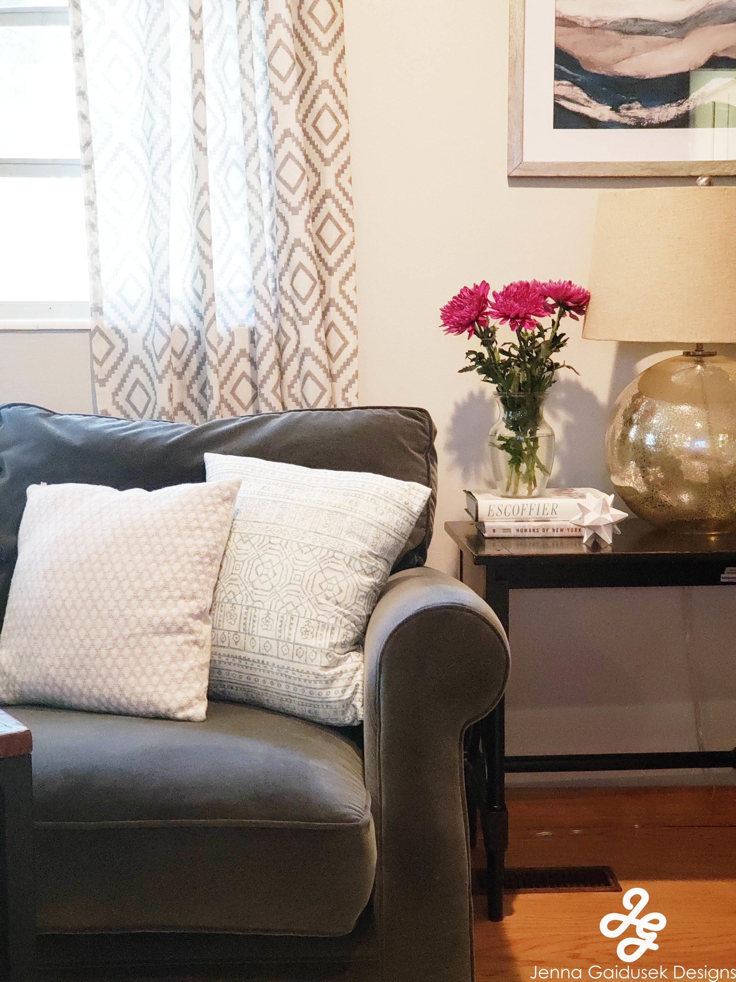 Kid friendly Living room, no coffee table, Refined modern farmhouse, grays- white, light blue, navy, charcoal.jpg