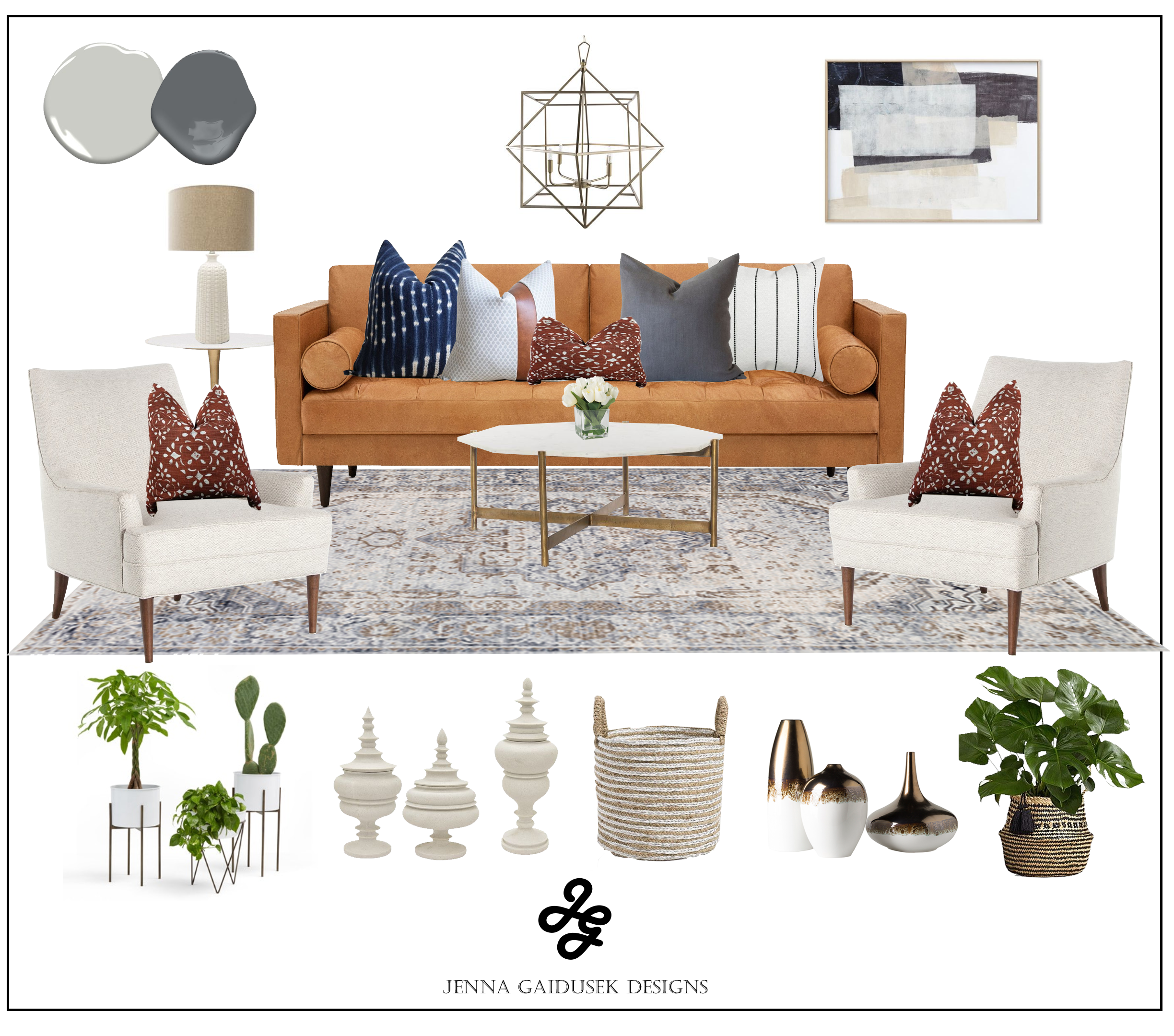 Modern farmhouse living room- camel leather couch shop the room