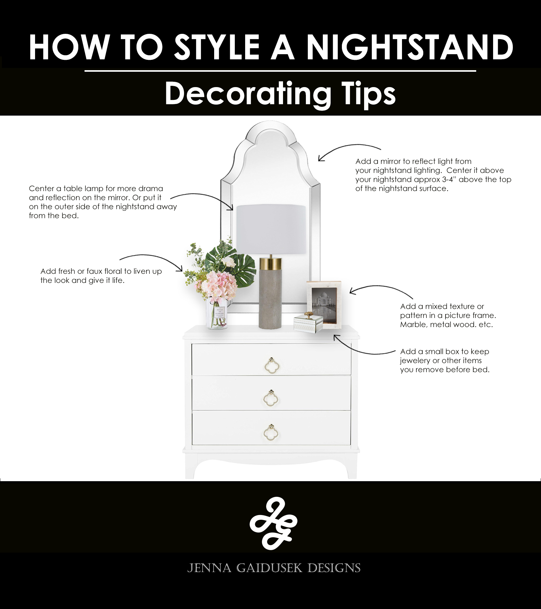 How To Decorate Your Nightstand Jenna Gaidusek Designs