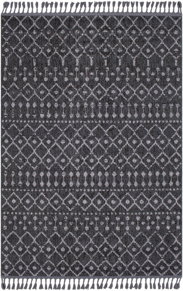 Restoration REO-2312 Area Rug Use at least one Solid or tone on tone pattern rug.  Pair with a detailed pattern rug that has at least 1 connecting color (a similar shade of gray was used in this example.)  Contrast your pattern rugs with a light & dark neutral or a light and dark color.  Choose one medium sized pattern rug to go with the detailed and solid rug.