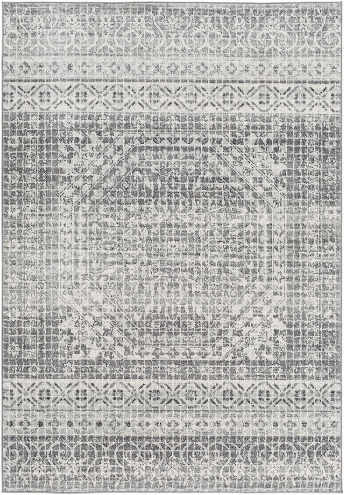 Use at least one Solid or tone on tone pattern rug.  Pair with a detailed pattern rug that has at least 1 connecting color (a similar shade of gray was used in this example.)  Contrast your pattern rugs with a light & dark neutral or a light and dark color.  Choose one medium sized pattern rug to go with the detailed and solid rug. Harput HAP-1080 Area Rug.jpg