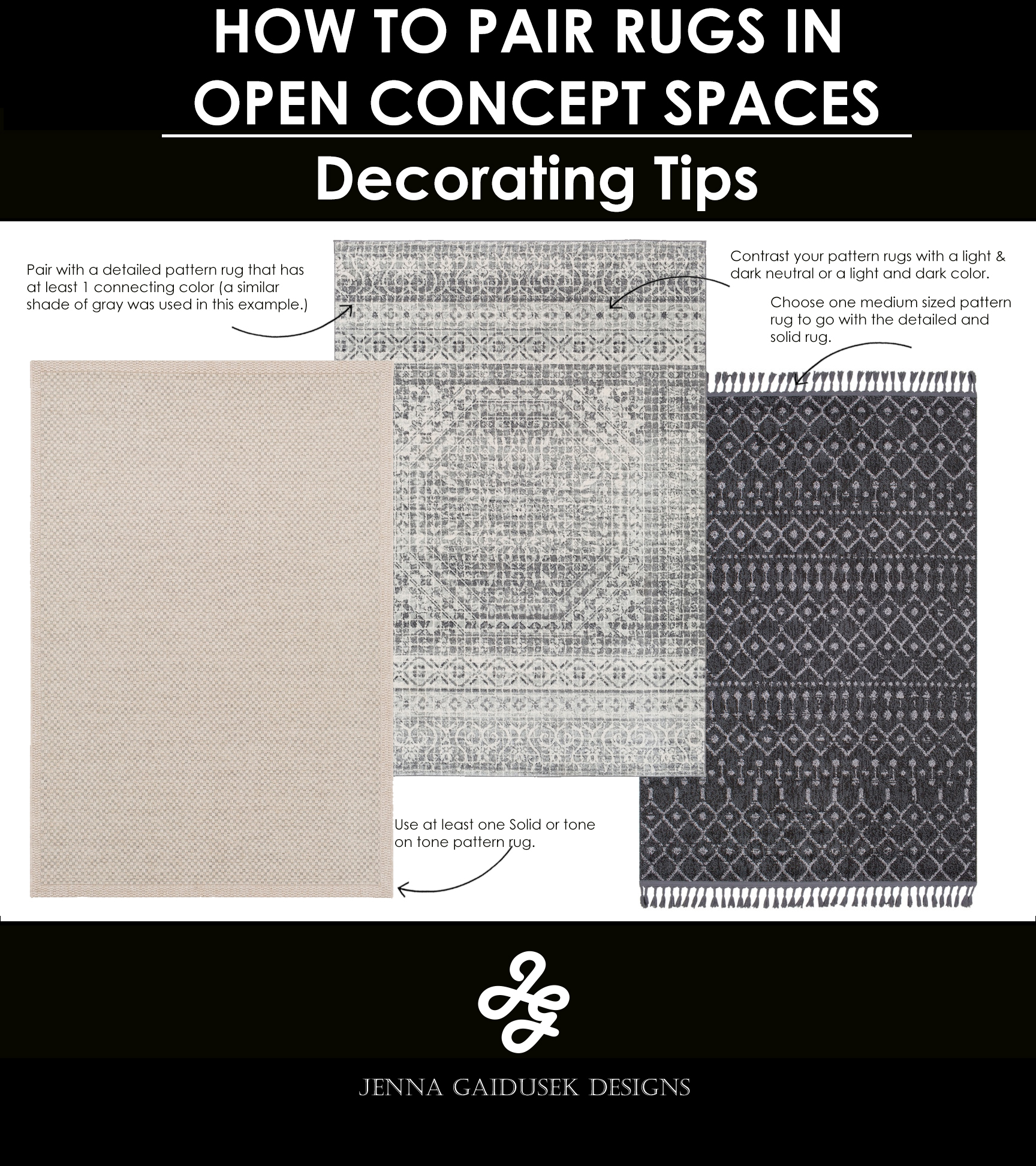 Use at least one Solid or tone on tone pattern rug.  Pair with a detailed pattern rug that has at least 1 connecting color (a similar shade of gray was used in this example.)  Contrast your pattern rugs with a light & dark neutral or a light and dark color.  Choose one medium sized pattern rug to go with the detailed and solid rug.